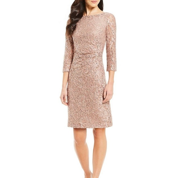 d76de211da0 Jessica Howard Dresses | Sequin Lace Side Tuck Sheath Dress | Poshmark